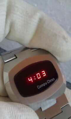 $ CDN210.78 • Buy Vintage  Compuchron Metall Tone Red  LED  Mens Watch. NOS.