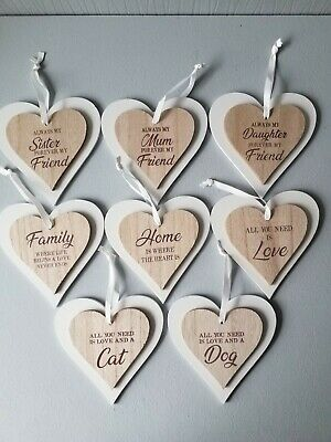£3.49 • Buy Double Wooden  Hanging Heart  Plaque With Ribbon