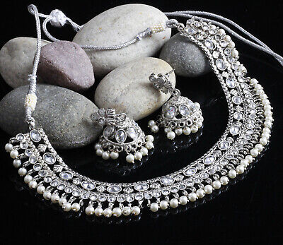 $25.96 • Buy Indian Kundan Earrings Necklace Set Silver Plated Bollywood Bridal Silver Pearl