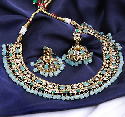 $24.98 • Buy Indian Bollywood Gold Plated Fashion Bridal Jewelry Choker Necklace Earrings Set
