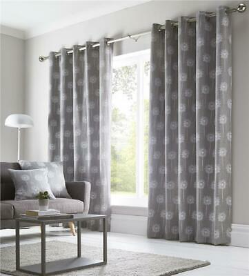 Grey Curtains Lined Eyelet Ring Top Ready To Hang Pair Contemporary Print • 24.29£