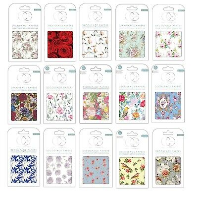 £3.49 • Buy Craft Consortium FLORAL Decoupage Papers  Pack 3 Sheets - Choice Of Designs