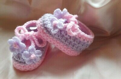 Handmade Crochet Baby Blossom Feet/ Booties/Shoes/Slippers Various Sizes • 2.50£