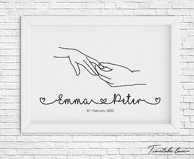 Personalised Wedding Engagement Print Linked Names - Mr And Mrs - Gift / Present • 4.90£