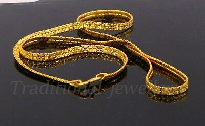 22k Carat Yellow Gold Flat Snake Chain With Cross Diamond Cut Design Awesome Ind • 2,204.19£