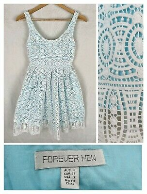 AU25 • Buy Forever New 6 Dress White Lace Blue Lining Fit & Flare Party Cotton