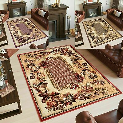 New Area Rug Red Brown Lilac Traditional Floral Classic Small Large Bedroom Rugs • 33.90£