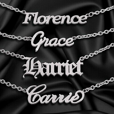 Personalised ANY NAME Necklace CUSTOM FONT Stainless Steel Pendant Chain Gift • 10.99£