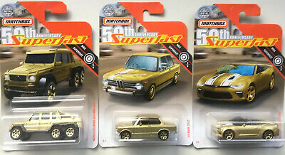 $7.95 • Buy 2019 Matchbox 50th Anniversary Superfast Gold Set Of 3 '02 BMW-Camaro-G63 AMG