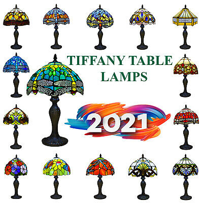 £64.50 • Buy Tiffany Style Table Lamp Handcrafted Art Stained Glass Bedside Lamps Desk Light