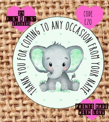 £1.60 • Buy Elephant , Party , Christening , Naming Day , Baby Shower Stickers Green E20