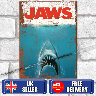 JAWS Movie Metal Signs Vintage Retro Wall Plaques Rusted Look TV Film Tin Sign • 4.95£