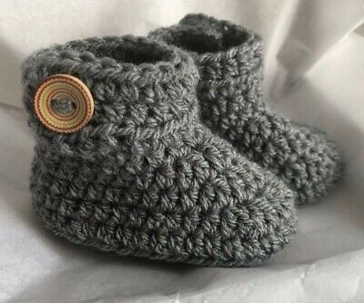 Crochet Knitted Baby Bootees Boots Booties Shoes Various Sizes - Dark Grey • 6.95£