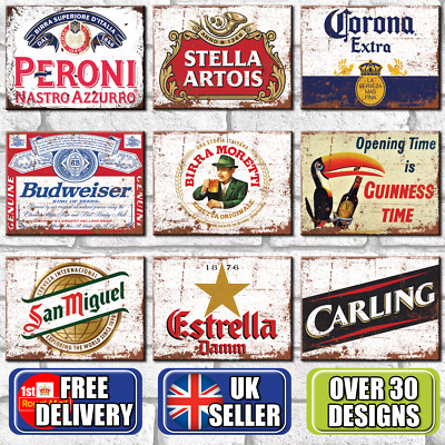 Metal Signs Plaques Vintage Retro Pub Bar Mancave Wall Poster Beer Tin Sign UK • 6.95£