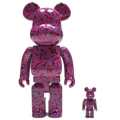 $300 • Buy Medicom BE@RBRICK Keith Haring Pink Ver 100% 400% Bearbrick Figure Set