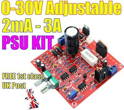 Hiland 0-30V 2mA-3A Continuously Adjustable DC Regulated Power Supply DIY Kit • 9.99£