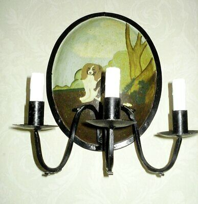 Hand Painted Vintage Wrought Iron 3 Candle Sconce • 45£