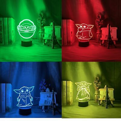 $23.99 • Buy Baby Yoda 3D Night Light – 4 Designs 16 Changing Colors Floating 3D Effect Soft