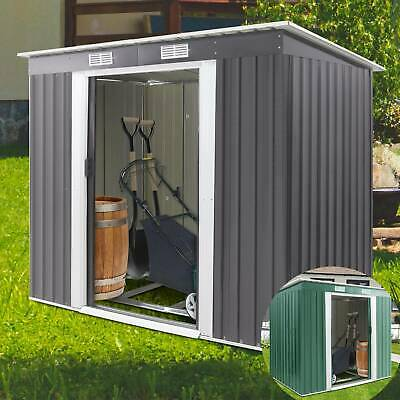 Metal Garden Shed Outdoor Storage House Heavy Duty Tool Organizer Box • 179.99£