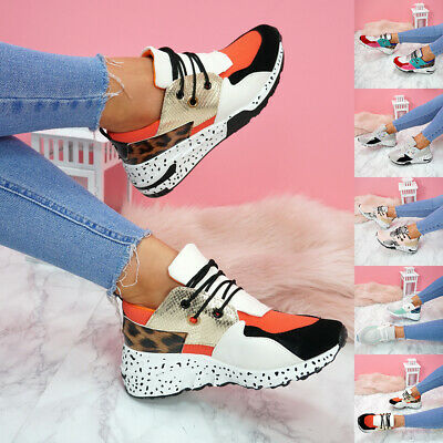 $ CDN17.63 • Buy Womens Ladies Lace Up Animal Print Chunky Sneakers Party Trainers Shoes Size