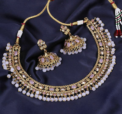 $24.96 • Buy Indian Bridal Wedding Gold Choker Necklace Earring Set Ethnic Fashion Jewelry