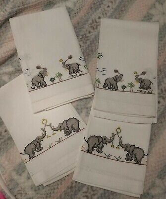 4 White Linen Table Napkins Serviettes /hand Towels With Elephants Xmas Gift • 8£