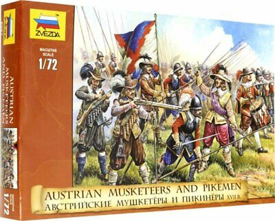 Zvezda Toy Soldiers. 8061. Austrian Musketeers And Pikemen. XVII C. 1/72 Scale. • 6.51£