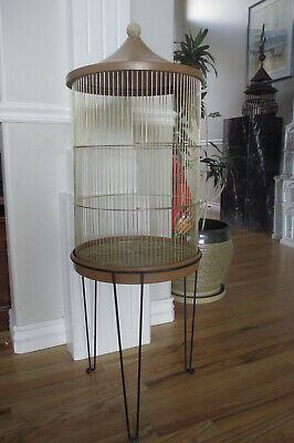 $240 • Buy Vtg Bird Cage Antique Round Cylinder House Dome Top Wood Finial Black Iron Base