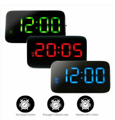 AU12.34 • Buy LED Digital Alarm Clock Snooze Large LCD Display Battery Powered Voice Control