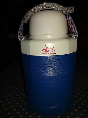 $8.99 • Buy Coleman Vintage Water Cooler Jug #5517 Blue/white Cup Top With Strap Brand New