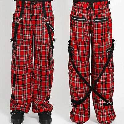 TRIPP SKINNY JEANS GOTHIC CHAOS RED PLAID GOTH PUNK REBELL PANTS STRAP IS6037P