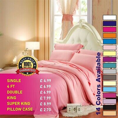 Fitted Sheet Bed Sheets 100% Poly Cotton Single 4FT Double King Super King Size • 2.70£