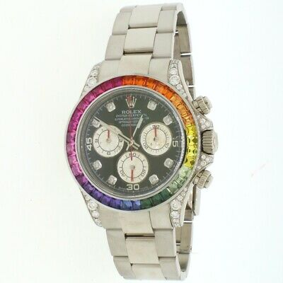$ CDN48553.01 • Buy Rolex Cosmograph Daytona 40mm 18K White Gold Watch With Rainbow Bezel