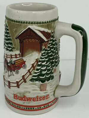 $ CDN25.09 • Buy 1984 Anheuser Busch AB Budweiser Bud Holiday Christmas Beer Stein Clydesdales