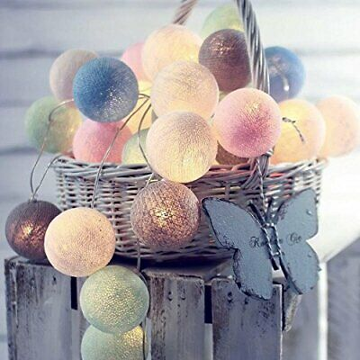 Multicoloured Cotton Ball LED String Lights 5 Ft.Indoor Outdoor Party Decor • 8.49£