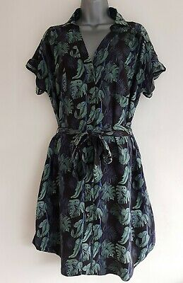 BRORA Women's Green Mix Floral Button-Down Belted Tunic Shirt Dress. Size UK 8. • 35£