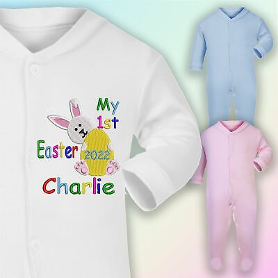 Personalised My 1st Easter Embroidered Baby Sleepsuit Gift Bunny Unisex • 9.50£