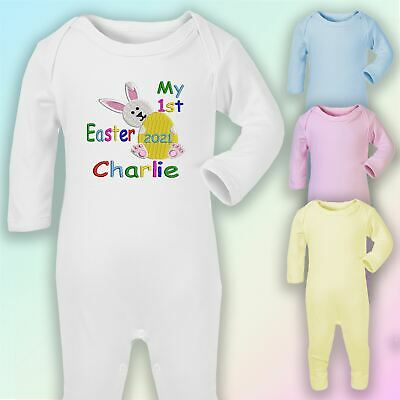 Personalised My 1st Easter Embroidered Baby Romper Babygrow Gift Bunny Unisex • 9£