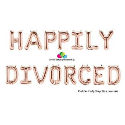 16  Rose Gold 'HAPPILY DIVORCED' Divorce Party Decor Party Foil Balloon Banner • 17.70£