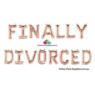 16  Rose Gold 'FINALLY DIVORCED' Divorce Party Decorations Foil Balloon Banner • 17.70£