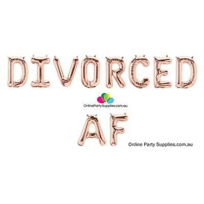 16  Rose Gold 'DIVORCED AF' Divorce Party Decorations Foil Balloon Banner • 13.27£