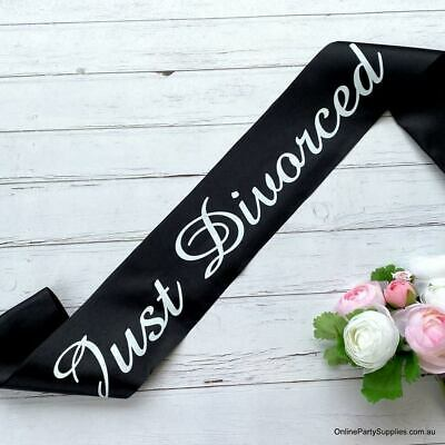 Black 'Just Divorced' Divorce Party Satin Sash Breakup Single Lady Celebrations • 8.85£