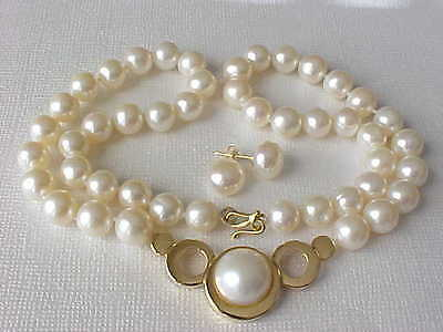 $290 • Buy 16.5  12mm Aaa Genuine White Mabe Pearl Necklace & Stud Earrings