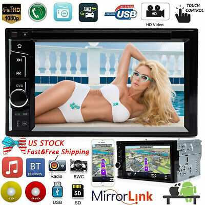 $106.69 • Buy Bluetooth Car Stereo DVD CD Player 6.2  2Din Radio AM FM AUX USB TF Mirror Link