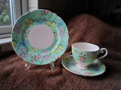 Shelley Gilded Ripon Shape Pink Melody Cup Saucer Plate Trio C.1940-1966 • 35£