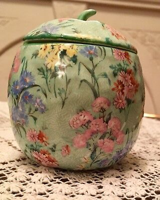 Large Vintage Beautiful Shelley Melody Chintz Lidded Preserves Or Sugar Jar • 75£