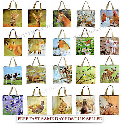Large Reusable Shopping Bags Womens Ladies Animal Bird Travel Tote Shoulder Bag • 4.99£