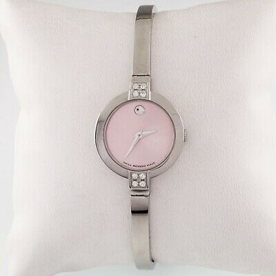 $199.99 • Buy Movado Stainless Steel Bela Watch W/ Pink Dial And Diamond Accents 84.A1.1830.S