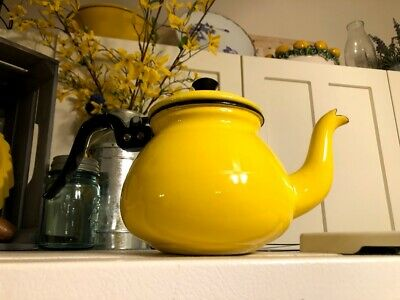 $35 • Buy Vintage Yellow Enamel Teapot Enamelware Coffee Mid Century Tea Kettle