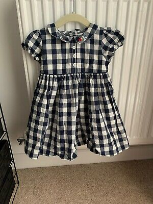 Next Baby Girl Blue Checked Dress 9-12 Months • 3.50£